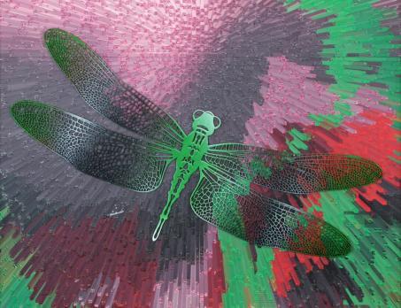 """Фрагмент. Декоративная картина """"Зеленые стрекозы"""" 300-24"""